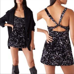 Free People Virgo Moon Velvet Mini Dress Sz S